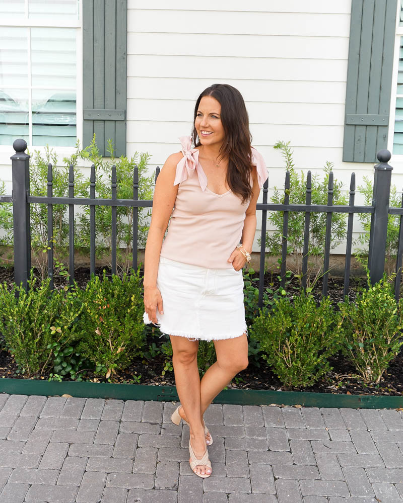 spring outfits | light pink tank top with bows | white cutoff denim skirt | Houston Fashion Blogger Lady in Violet