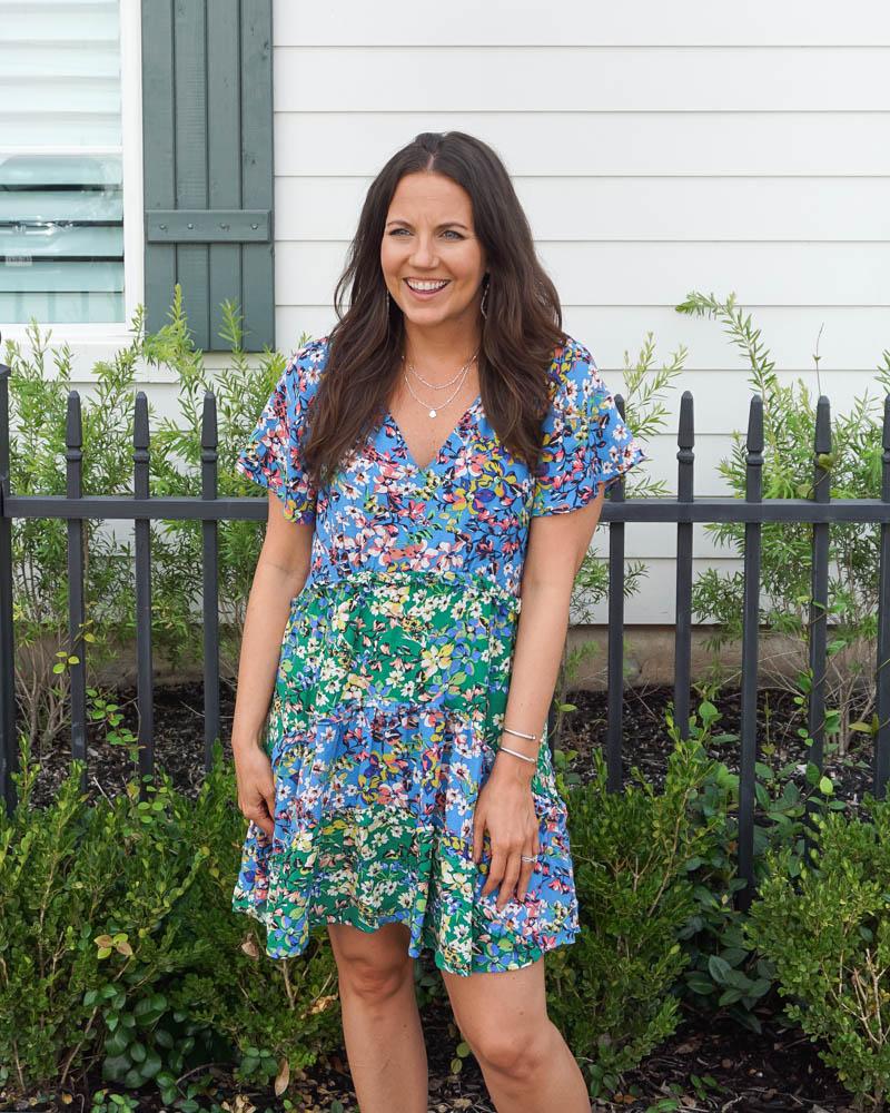 summer work outfit | short sleeve floral dress | david yurman bracelets | Houston Fashion Blogger Lady in Violet
