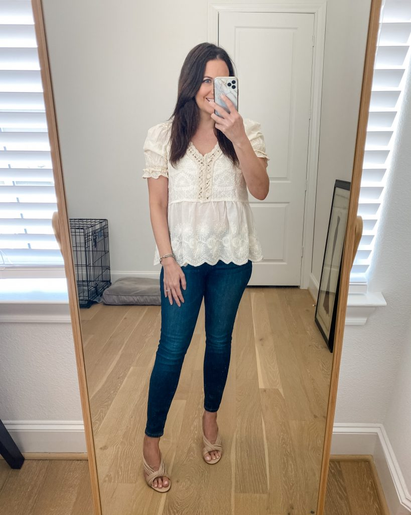spring outfit | beige short sleeve crochet top | skinny jeans | Southern Fashion Blog Lady in Violet