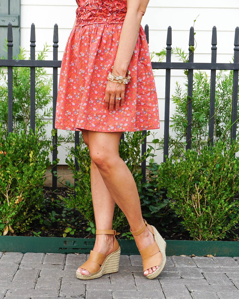 summer outfit | red floral print mini dress | tan espardille sandals | Southern Fashion Blog Lady in Violet