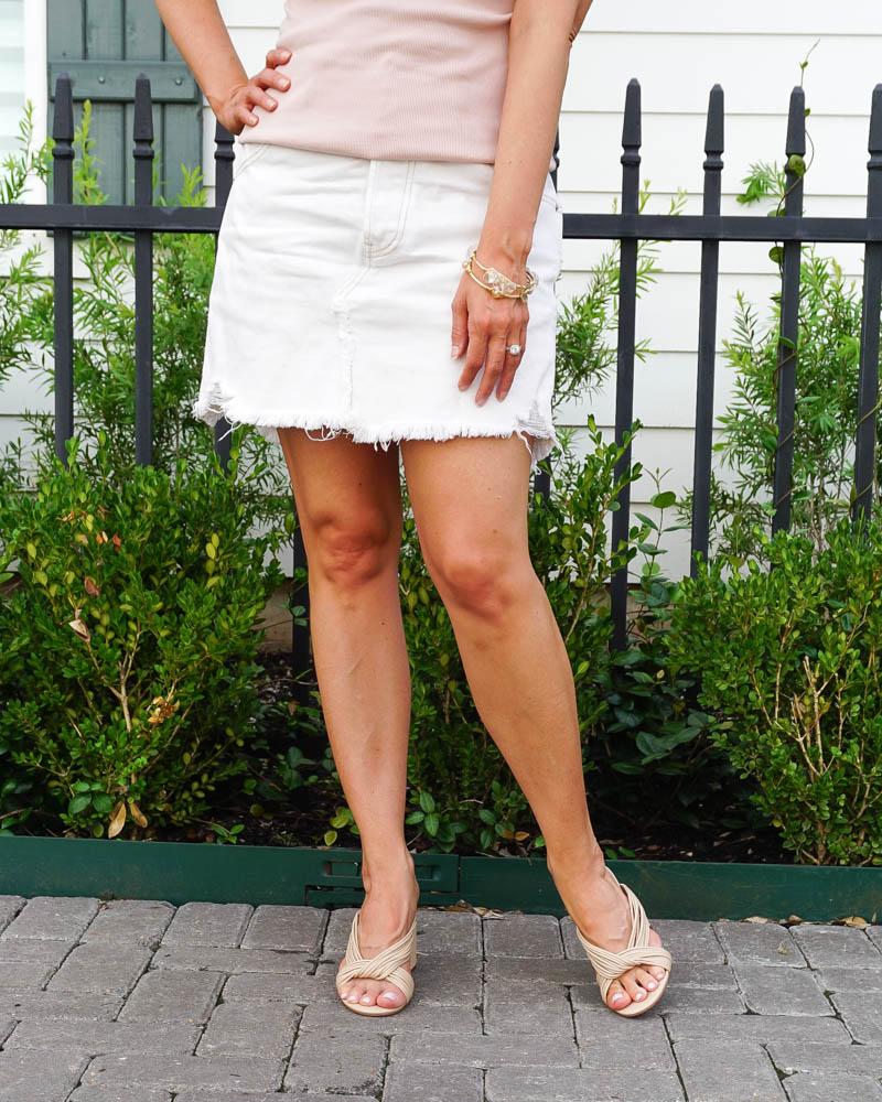 summer outfits | white denim skirt | light beige slide sandals | Casual Fashion Blog Lady in Violet