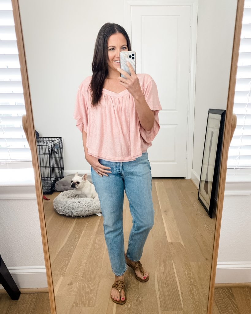 casual outfit | pink crop top | straight leg jeans | American Fashion Blogger Lady in Violet