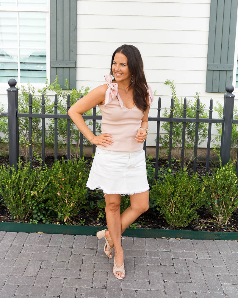 summer outfit | pink tank top | white jean skirt | Southern Style Blog Lady in Violet