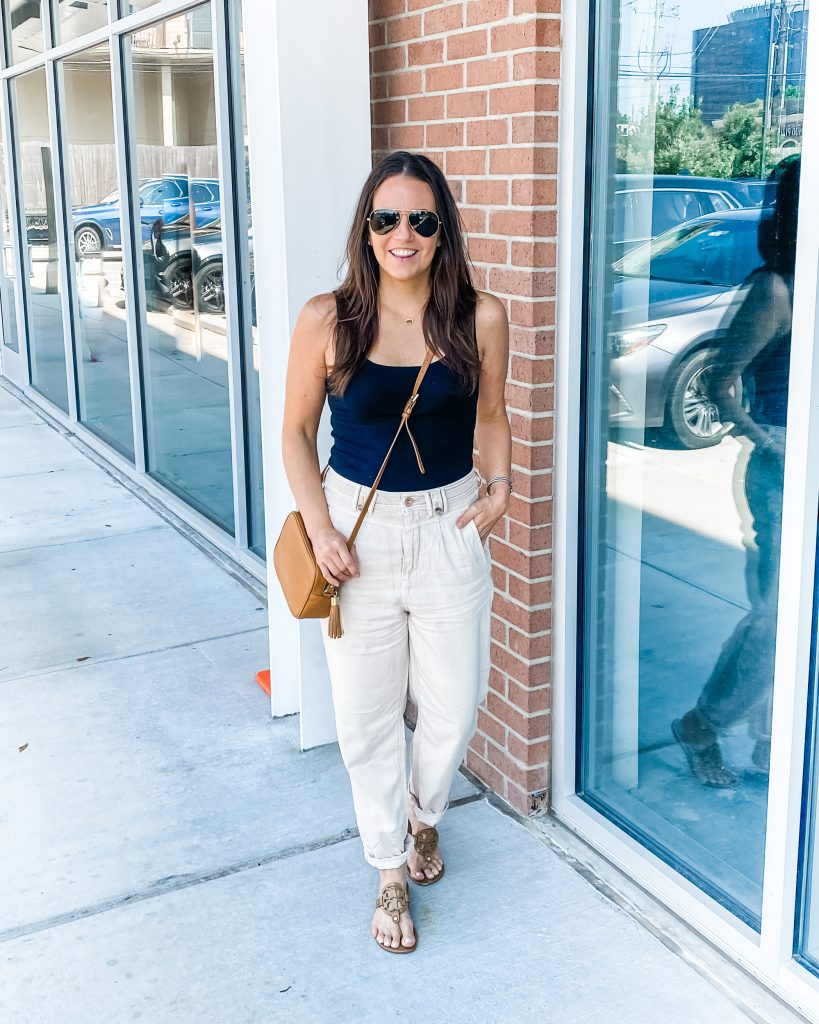 casual summer outfit | light colored utility trousers | black tank top | Petite Fashion Blogger Lady in Violet