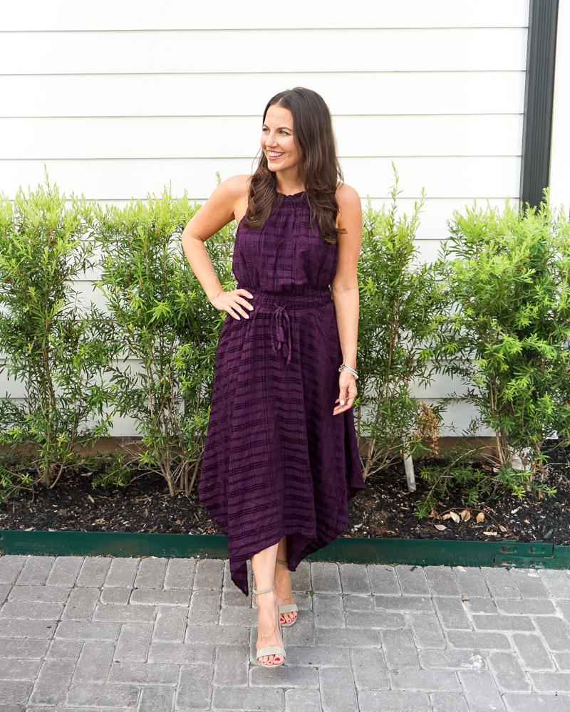 fall wedding outfit | purple midi dress | block heel sandals | Petite Fashion Blog Lady in Violet