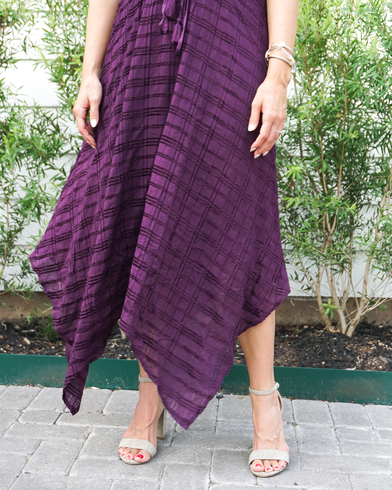 fall wedding guess dress | dark purple long dress | light colored heels | Houston Fashion Blog Lady in Violet