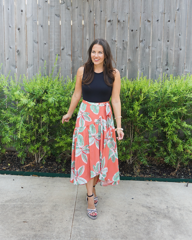 vacation outfit | palm print wrap skirt | black bodysuit | Houston Fashion Blog Lady in Violet