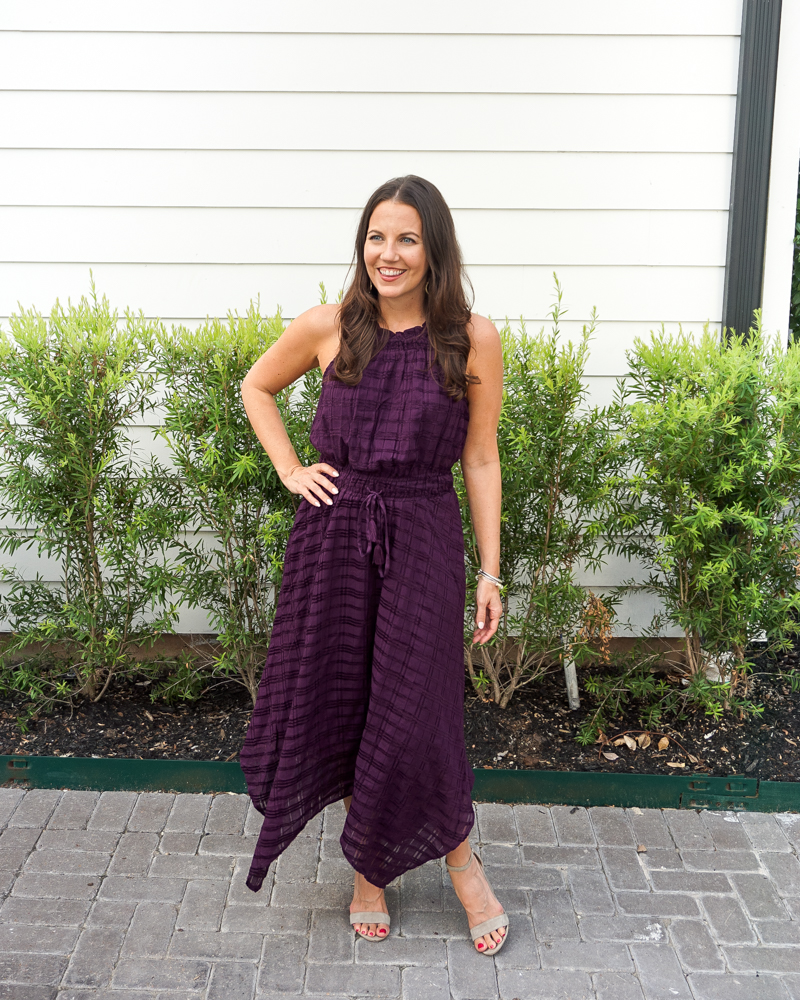 summer outfit | dark purple halter dress | tan sandals | Texas Fashion Blogger Lady in Violet