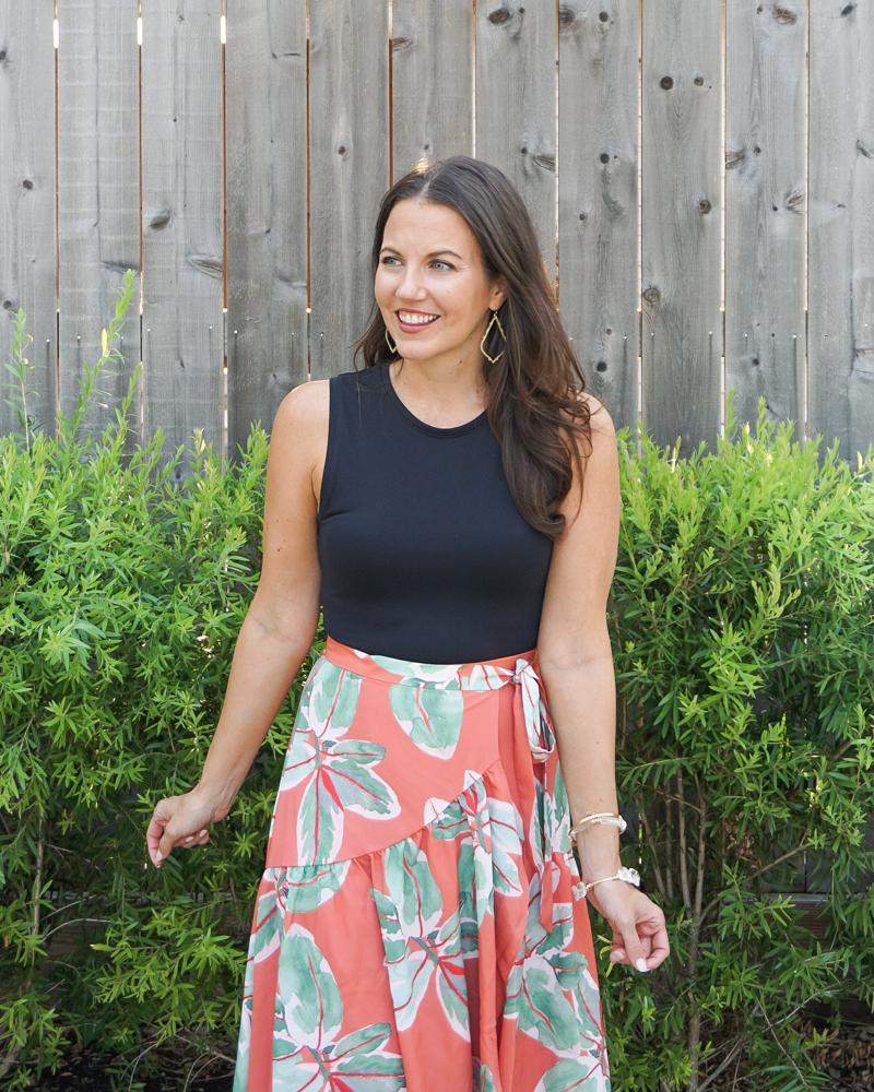 bridal shower outfit | black sleeveless bodysuit | leaf printed midi skirt | Petite Fashion Blogger Lady in Violet