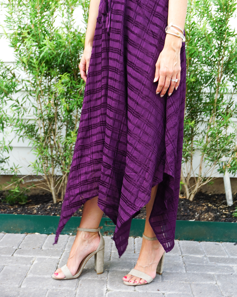 fall outdoor wedding outfit | dark purple long dress | light tan block heel sandals | Southern Fashion Blog Lady in Violet