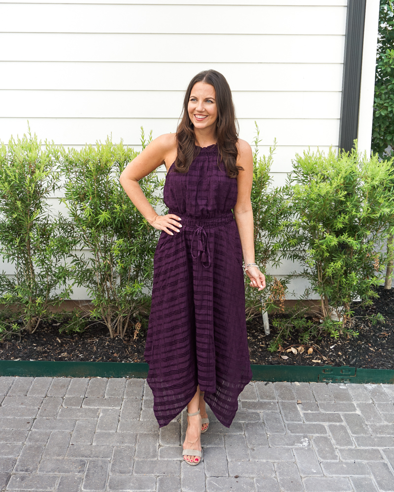 what to wear to a fall wedding | dark purple tie waist dress | light colored heels | Texas Fashion Blogger Lady in Violet