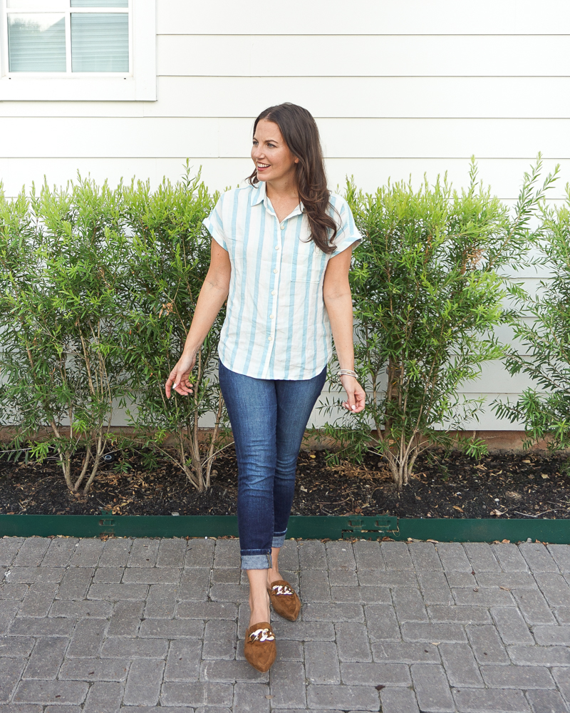 fall outfit   blue white striped shirt   brown mule slides   Houston Fashion Blog Lady in Violet