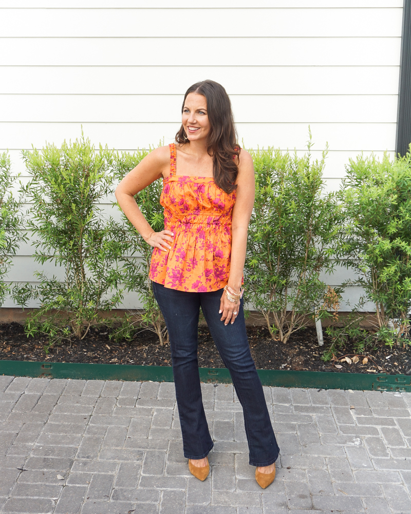 fall outfits   orange tank top   dark blue flared jeans   Texas Fashion Blog Lady in Violet