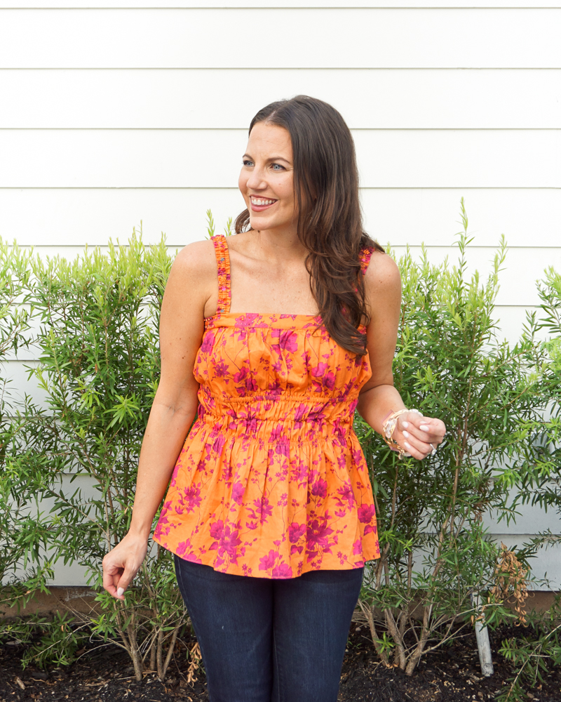 fall outfit   orange pink floral tank top   stone bangles   Houston Fashion Blog Lady in Violet