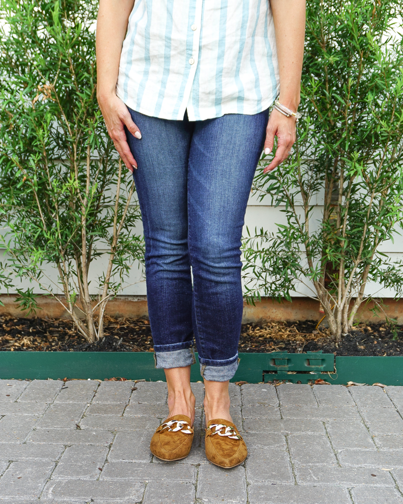 fall outfits   dark blue cuffed jeans   brown gold buckle slides   Texas Fashion Blog Lady in Violet