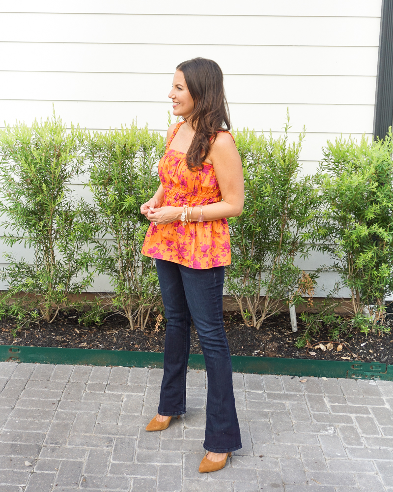 fall outfit inspiration   orange floral tank top   dark blue flared jeans   Houston Fashion Blogger Lady in Violet