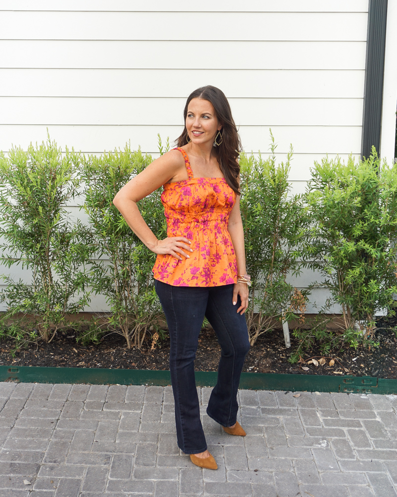 fall outfit ideas   orange floral print tank top   dark wash bootcut jeans   Petite Fashion Blogger Lady in Violet