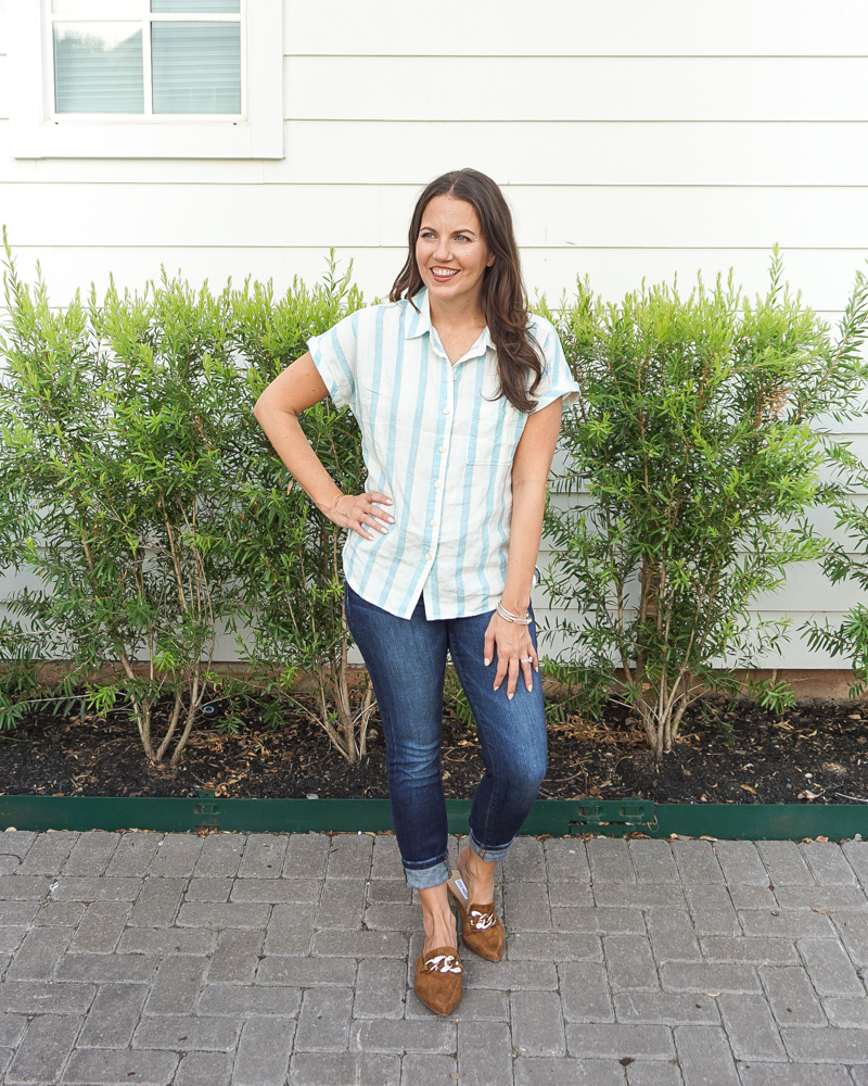 fall outfit inspiration   blue striped button up top   brown gold buckle mule flats   Texas Fashion Blogger Lady in Violet