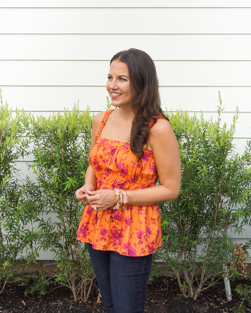 fall outfit   orange tank top   stone gold bracelets   Texas Fashion Blogger Lady in Violet