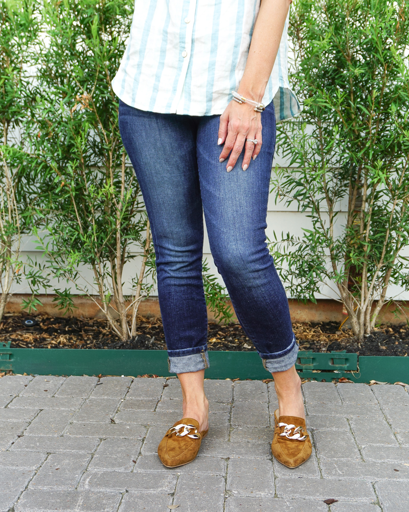 fall outfit   dark blue cuffed denim   brown suede slides   Southern Style Blog Lady in Violet