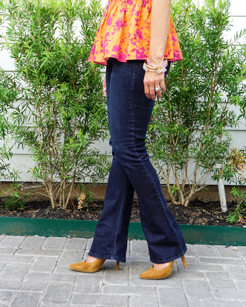 petite fashion   dark blue bootcut jeans   suede heels   Southern Fashion Blog Lady in Violet