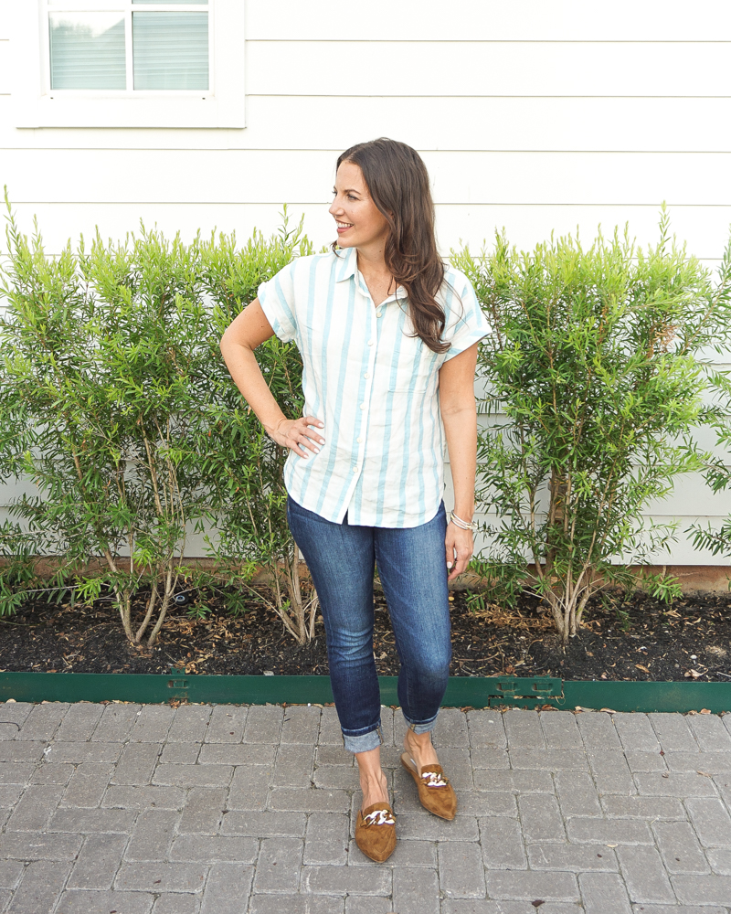 fall outfit idea   blue short sleeve blouse   brown suede flats with gold buckle   American Fashion Blog Lady in Violet