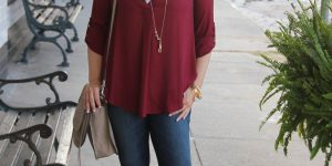 Fall's It Color – Maroon Casual Top under $50