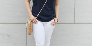Navy Ruffle Bib Top
