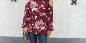 Floral Cold Shoulder Blouse + Link Up