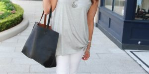 Gray Side Tie Tank & Statement Necklace + Link Up